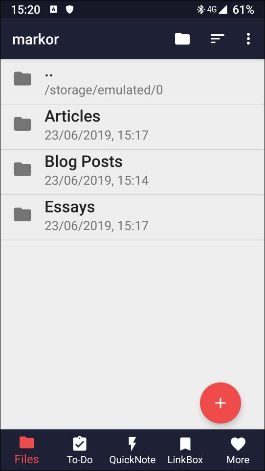 Folders in Markor