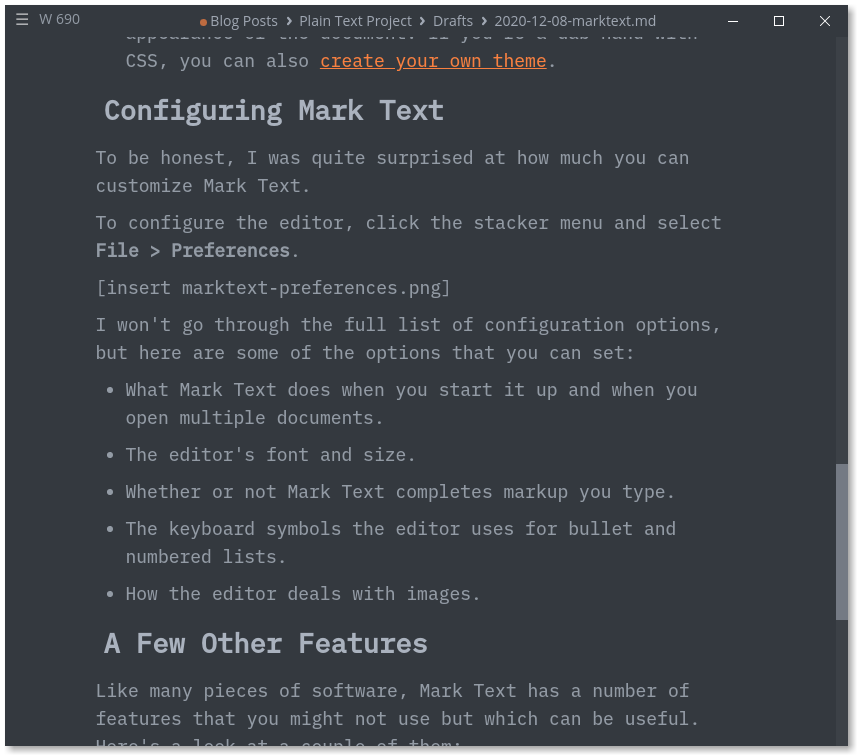 Example of one of Mark Text's dark themes