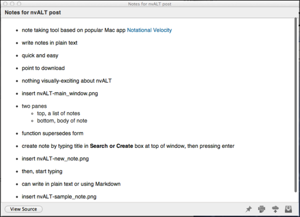 Previewing a note in nvALT