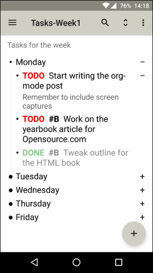 A task list as viewed in Orgzly