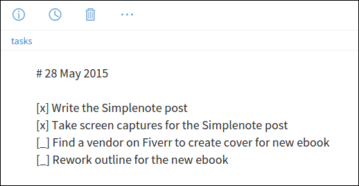 A completed to-do item in Simplenote