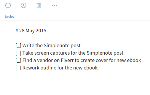 A to-do list in Simplenote