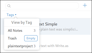 List of tags in Simplenote